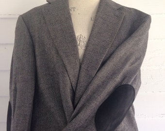 Vintage Gray Lambswool Professor's Sports Coat w Black Suede Elbow Patches