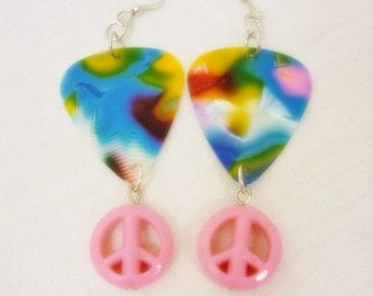 Guitar Pick with Peace sign Earrings,Cool Colors guitar pick dangle Earrings