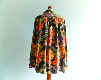 Vintage Floral Blouse Shirt Black Multicolor Vivid Bright Statement Bold Long Sleeve Slouchy Loose Oversized
