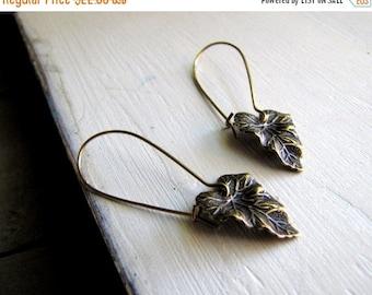 ON SALE Gold Leaf Earrings Rustic Jewelry Nature Inspired Earrings Boho Earrings Small Leaf Casual Earrings Fashion Earrings Boho Fashion Fo