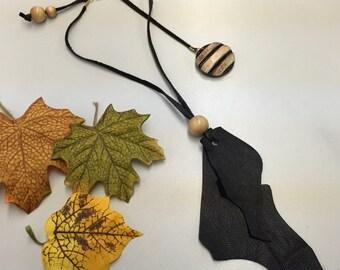SJ Black Leather Wooden Medalion Necklace