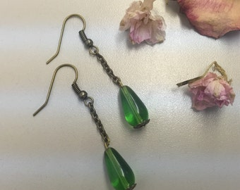 CA Green Drop Earrings