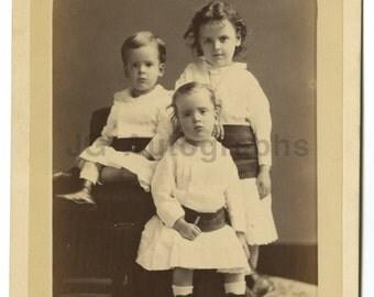 19th Century Children - Vintage Cabinet Card Photo by Cm Bell - Washington, Dc