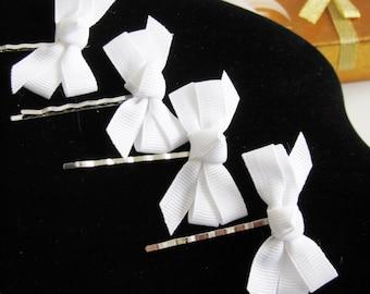 2 White Bow Hair Pins -- Flower Girl Hair Pins, Bobby Pins, White Bow, Wedding Hair Pins, Bridal Jewelry