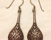 Antique Old Estate Sterling 925 MEXICO Mexican Filigree Scroll Dangle Drop Earrings