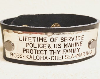 Custom Military Bracelet, Police Bracelet, Firefighter Bracelet, Mens Leather Bracelet , Christmas Gifts For Men