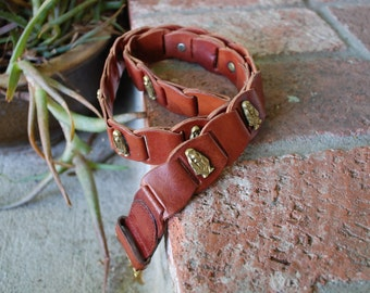 Vintage Womens Small Hush Puppies Brown Leather Basset Hound Dog Puppy Woven Braided High Waisted Link Chain Belt Belts Brown Boho Hipster