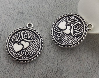 new design I Love you charms 10 pcs-T0785