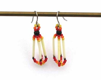 Tiny Beaded Earrings with Porcupine Quills