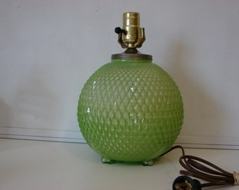 Vintage Round Green Hobnail Glass Table Lamp