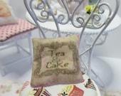 Dollshouse Miniatures. Cushion Pillow. Tea Shop, Tea & Cake Design