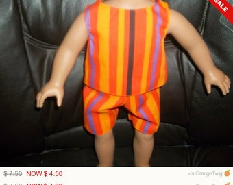 American 18 Inch Doll Clothes handmade Orange Striped Top and Shorts