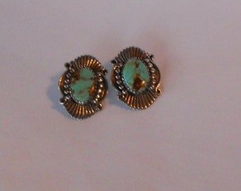 Vintage sterling silver and turquoise earrings post Native American initials AM on back fabulous matrix