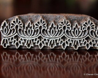 Hand Carved Indian Wood Textile Stamp Block, Tjaps, Pottery Stamp- Floral Border
