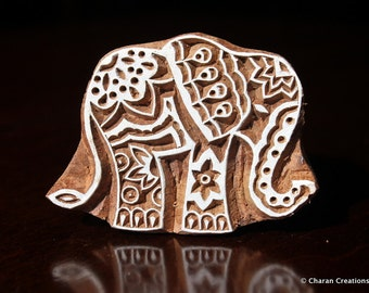 Wood Block Stamp, Tjaps, Indian Wood Stamp, Pottery Stamp, Textile Stamp, Hand Carved- Zentangle Elephant