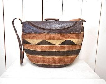 Sisal Shoulder Tote 1970s Brown Tan Vintage Tooled Leather Zipper Tote Bag