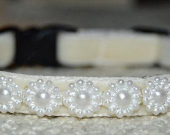 Pearl - Cream velvet cat collar w/pearl ribbon - beautiful unique handmade breakaway soft cat collar