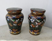 """2 JAPANESE CLOISONNE GINGER Jars Miniature Size 4 1/4"""" Tall Red Blue Green White Orange Yellow on Black Flowers Birds 1900's Free Shipping!"""