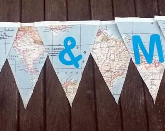 Wedding fabric bunting - Wedding decor -  Mr and Mrs decor - Wedding bunting - Personalised bunting - Travel bunting - Map bunting