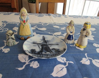 Lot of 5--- Holland Dutch Salt Pepper Shakers Girl Bell Windmill Plate
