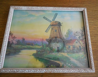 Vintage Picture Lithograph Holland Dutch Windmill Tulips