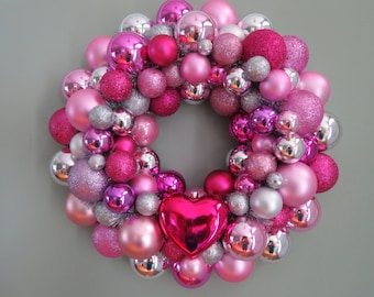 Valentine PINK Silver MAGENTA VALENTINE'S Day 1 heart Ornament Wreath 1 16