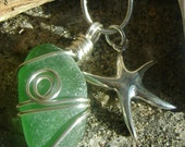 Handmade Seaglass Jewelry: Seaglass Necklace with Starfish