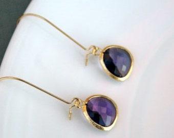 Gold Tanzanite Earrings. Purple Earrings.Amethyst.Violet.Bridesmaids Earrings.Wedding.Bridesmaids Jewelry.Simple. Everyday.Delicate.Dainty.