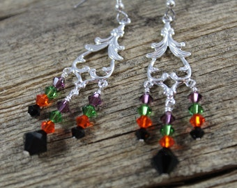 50% OFF CLEARANCE / Fancy Halloween Earrings / Chandelier Earrings / Orange Black / Halloween Earrings / Gifts for Her / Gifts for Women