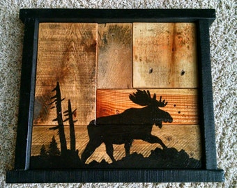 Rustic Hand Painted Moose Silhouette on Reclaimed Wood Panel...Great Gift Idea...One of a Kind Piece...Hand Made in Minnesota...Primitive