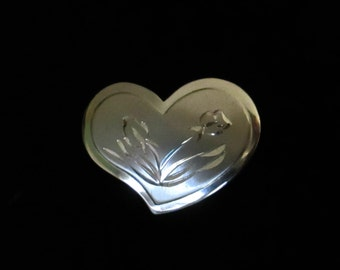 Sterling Engraved Heart Brooch // Deadstock Vintage Valentine Pin