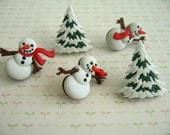 Green Red Whit Snowmen Christmas Thumbtack, Christmas Sonw Men Push Pin, Xmas Notice Board Pins, Christmas party Supplies