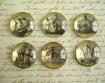 Vintage Style Ship Magnet, Boat Fridge Magnet, Round Magnet, Vintage Style Magnet Set #2