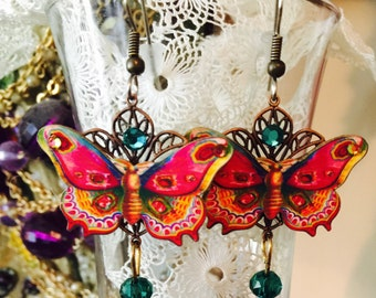 BUTTERFLY and Crystal Dangle EARRINGS