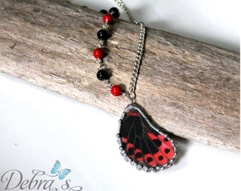 Red Mormon Butterfly Wing Necklace, Agate and Coral, Real Butterfly Jewelry