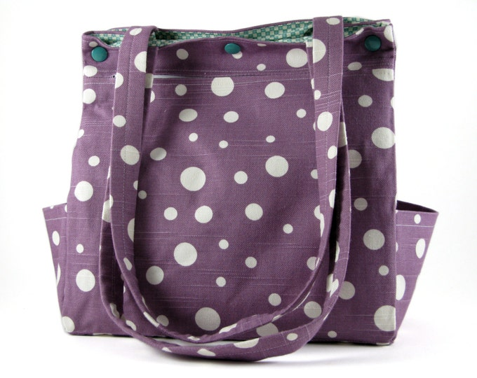Diaper Bag Large Purse Caryall Tote in Purple and White Dots