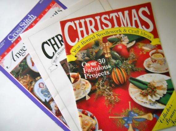 Christmas cross stitch patterns vintage holiday craft for Vintage christmas craft supplies
