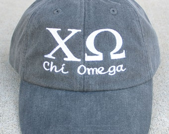 Chi Omega with script baseball cap