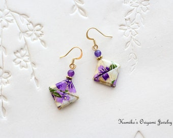 Origami Jewelry - Japanese Origami Square Earrings with Surgical Steel Hooks No.03256