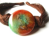 Green - Orange Agate- linen necklace