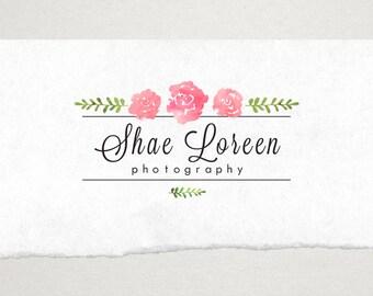 Premade Logo // Logo Design // Business Logo //  Photography Logo // Watercolor Logo // Rose Border Logo