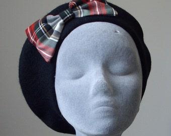 Black Hat- Black Beret Hat with Black-White-Red Tartan Bow