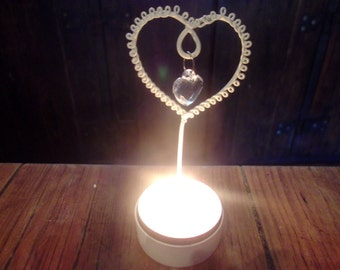 jewelled Heart tealight holder, weddings, valentine's , table decor, dinner parties, different colours available