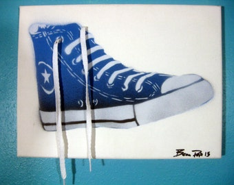 Converse High Tops in Blue by Beau Pope with Real Laces Stencil Paint 9 x 12 NEW