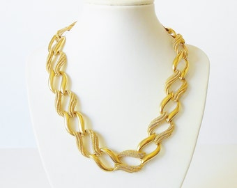 Vintage Napier Chain Necklace, Big Chunky links, Mixed Gold finish, Statement necklace, Wide chain
