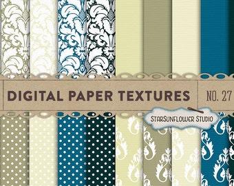 Damask & Dots Digital Scrapbook Paper Pack  No 27 - 12x12