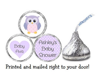 Printed 216 Baby Shower Stickers for Chocolate Kiss® Candy - Purple Owl & Polka Dots Personalized Labels for Favors