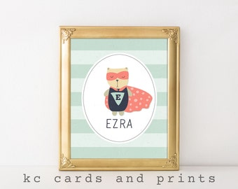 Ezra Name Art - Nursery Wall Art - Nursery Printable - Custom Name Art - Baby Name