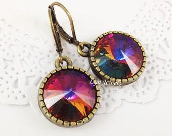Swarovski Crystal Volcano Earrings - Antique Bronze Round Rivoli Peacock Color Leverback Earrings Christmas Gift Under 20