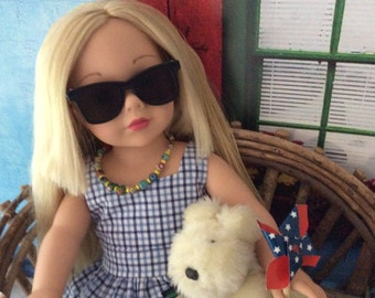 """Custom Couture 18 Inch Doll Clothing """"Waiting for the Parade"""" Peplum Top, Capri Slacks and More"""